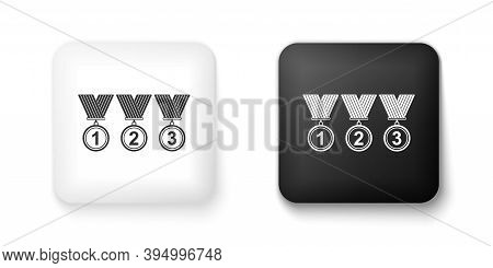 Black And White Set Medal Icon Isolated On White Background. Winner Simbol. Square Button. Vector