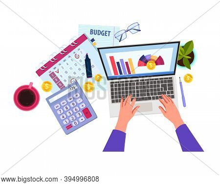 Finance Audit Or Budget Planning Vector Cartoon Illustration With Hands, Laptop, Calculator, Calenda