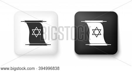 Black And White Torah Scroll Icon Isolated On White Background. Jewish Torah In Expanded Form. Torah