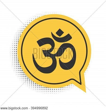 Black Om Or Aum Indian Sacred Sound Icon Isolated On White Background. The Symbol Of The Divine Tria