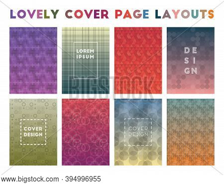 Lovely Cover Page Layouts. Actual Geometric Patterns. Memorable Vector Illustration.