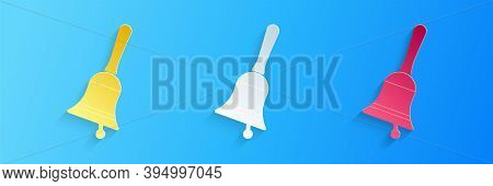 Paper Cut Ringing Bell Icon Isolated On Blue Background. Alarm Symbol, Service Bell, Handbell Sign,