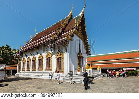 Bangkok, Thailand - December 7, 2019: Unidentified Foreign Tourists Take Pictures Inside Grand Palac