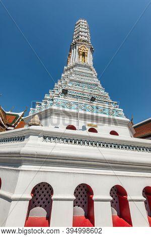 Bangkok, Thailand - December 7, 2019: White Stupa At The Wat Phra Kaew - The Temple Of Emerald Buddh