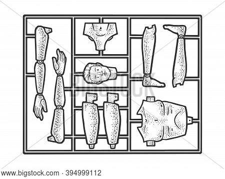 Human Man Toy Construction Set Sketch Engraving Vector Illustration. T-shirt Apparel Print Design. S