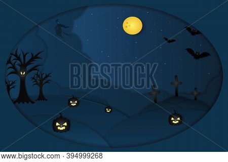 Halloween. Mystical Landscape. Oval Shaped Window. A Witch On A Broomstick Flies In The Sky. Full Mo