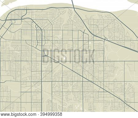 Detailed Map Of Surrey City Administrative Area. Royalty Free Vector Illustration. Cityscape Panoram