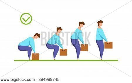 Lifting Box Proper Technique Vector Health Care Concept. Cartoon Illustration