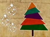 Vintage  Merry Christmas greeting or gift card with Christmas tree. EPS 10. poster