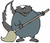 This illustration depicts a skunk using a wet mop. poster