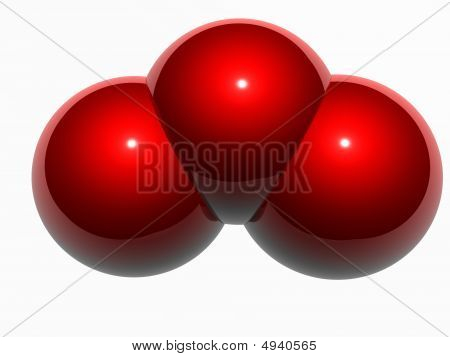 Model of ozone molecule generated as 3D illustration poster