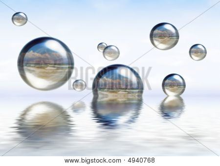 Glassy Spheres Floating On The Water