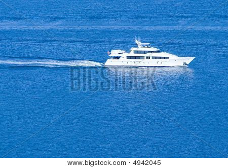 White Yacht ~ Sailing On Clear Blue Sea