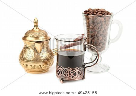 Coffee Pot And Coffee Beans Isolated On White Background