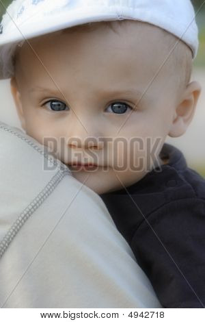 Boy Child On A Father's Shoulder