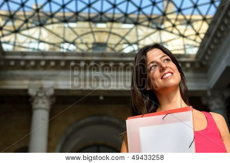 Happy Student In European College