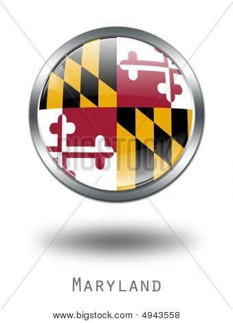 3D Maryland  Flag Button Illustration On A White Background