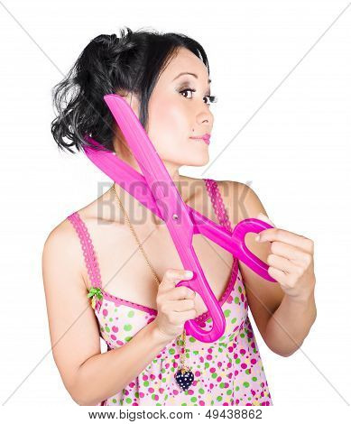 Young Beautiful Woman Cutting Hair At Beauty Salon