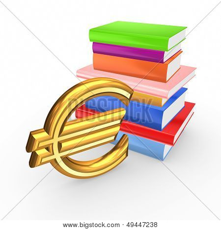Sign of euro and colorful books.Isolated on white.3d rendered. poster