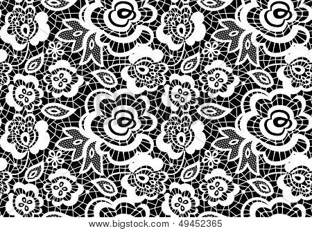 vintage lace guipure seamless pattern with abstract flowers on black background poster