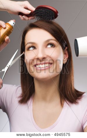 young beautiful woman at hairdresser close up - conceptual poster