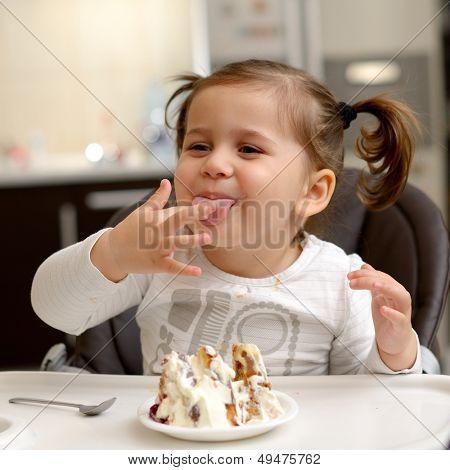 cute little girl eating