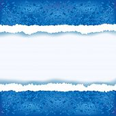 Abstract blue background with torn paper. Winter frame place for text. Vector background poster
