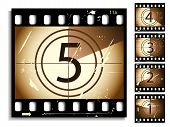 Film countdown moving timer. Grunge is different on each frame. poster