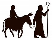 Silhouette illustrations of Mary and Joseph journeying with a donkey looking for a place to stay on Christmas Eve. poster