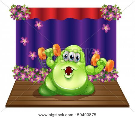 Illustration of a stage with a green monster exercising in the center on a white background