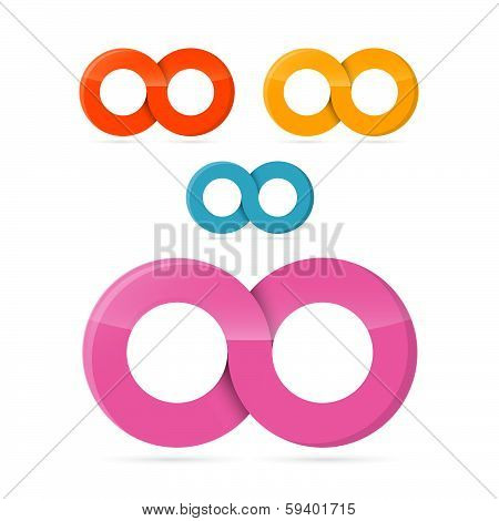 Colorful Vector Infinity Symbols Set