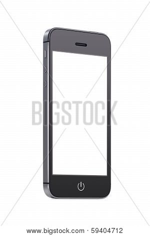 Bottom Up View Of Black Mobile Smart Phone With Blank Screen
