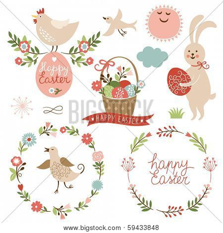 Happy easter graphic elements,vector set