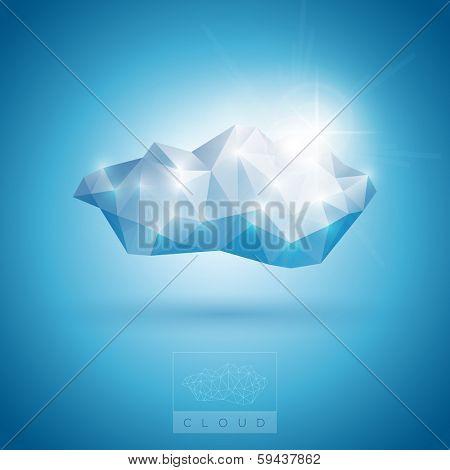 Vector illustration of polygonal cloud symbol.
