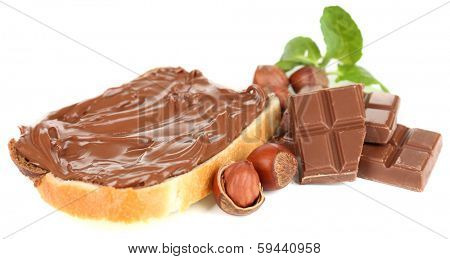 Bread with sweet chocolate hazelnut spread isolated on white poster