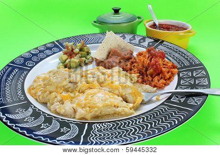 Eating Enchilada Dinner
