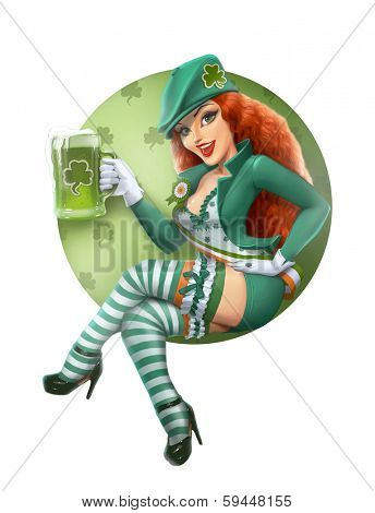 Girl in leprechaun suit with beer. Saint Patrick day. Isolated on white background