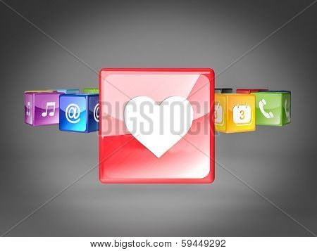 3d smart icon love background