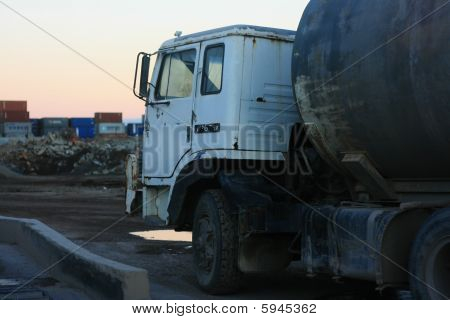 Water Tanker Truck At Sunset