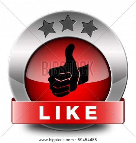 like and follow us thumbs up red icon or button