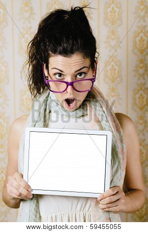 Woman Showing Touchpad Blank Screen