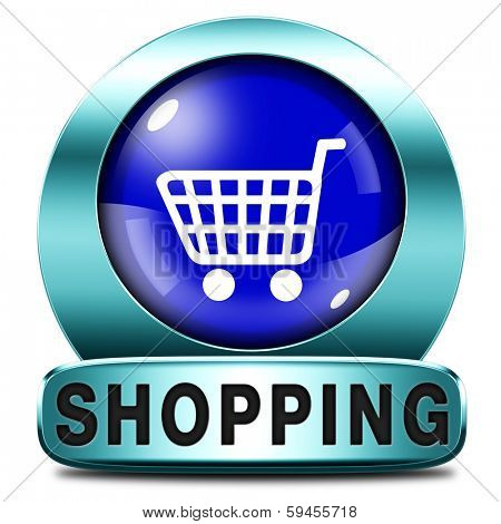 online shopping internet web shop webshop icon or button poster