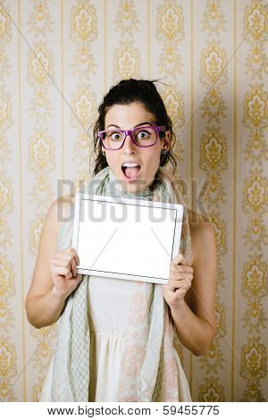 Surprised Woman Showing Touchpad Screen