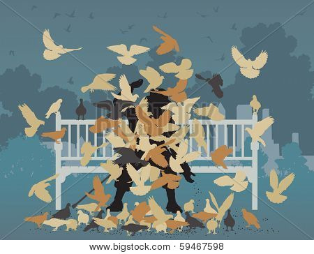 Illustration of a man on a park bench smothered by pigeons