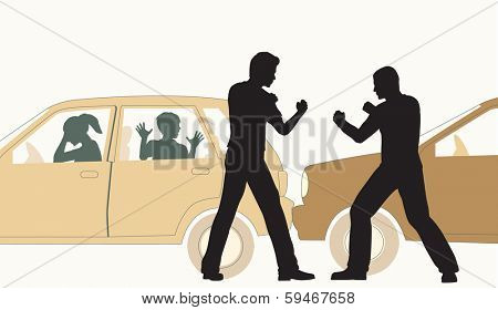Illustration of two men fighting after a minor road accident
