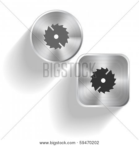 Circ saw. Vector set steel buttons