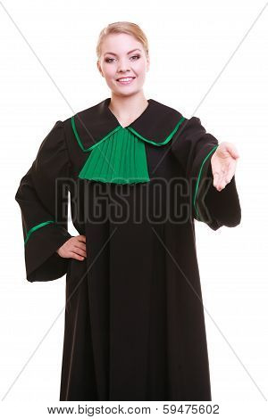 Woman Lawyer Attorney Wearing Classic Polish Gown Giving Hand For Handshake