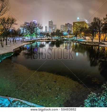 charlotte nc skyline covered in snow in january 2014