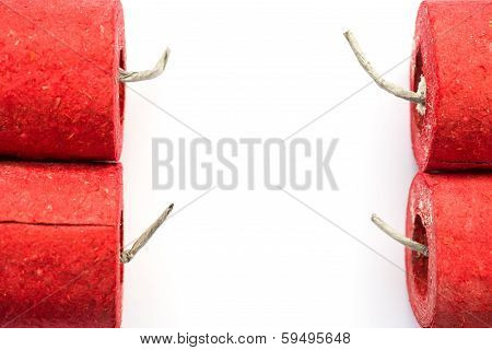 Red Firecrackers On A White Background With Copy Space