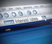 Illustration depicting a screenshot of an internet search with an Interest rates concept. poster